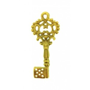 5% 14K Gold Plated Brass Key 8mm x 21mm, 1.5mm thickness Gold Plated Charms, Pendants