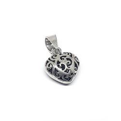 Sterling Silver 925 Filigree Heart 12.4mm x 11.3mm, bail 4mm x 8mm