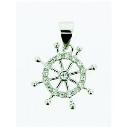 Sterling Silver 925 Wheel Pendant with CZ stones and Bail 16mm