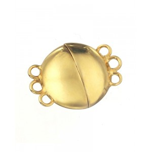 Sterling Silver 925 Gold Plated Round Magnetic Clasp 13.8mm 3 Row