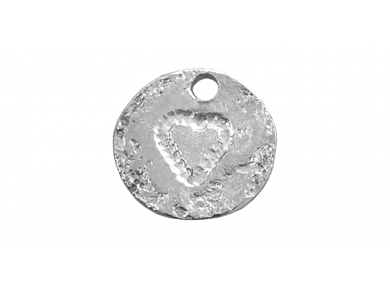 Sterling Silver 925 Textured Disc with Heart 14mm