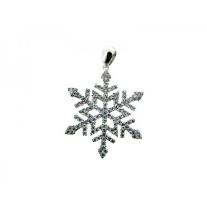 Sterling Silver 925 CZ Pave Snowflake Pendant 24mm
