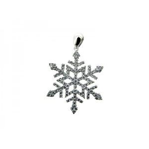 Sterling Silver 925 CZ Pave Snowflake Pendant 24mm