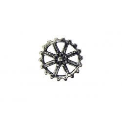 Sterling Silver 925 Spoke Cogwheel Charm 10mm small