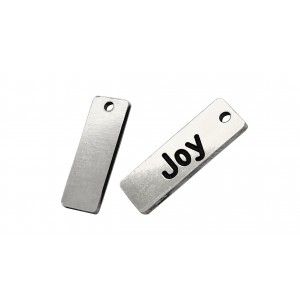 Sterling silver 925 'Joy' rectangle tag.