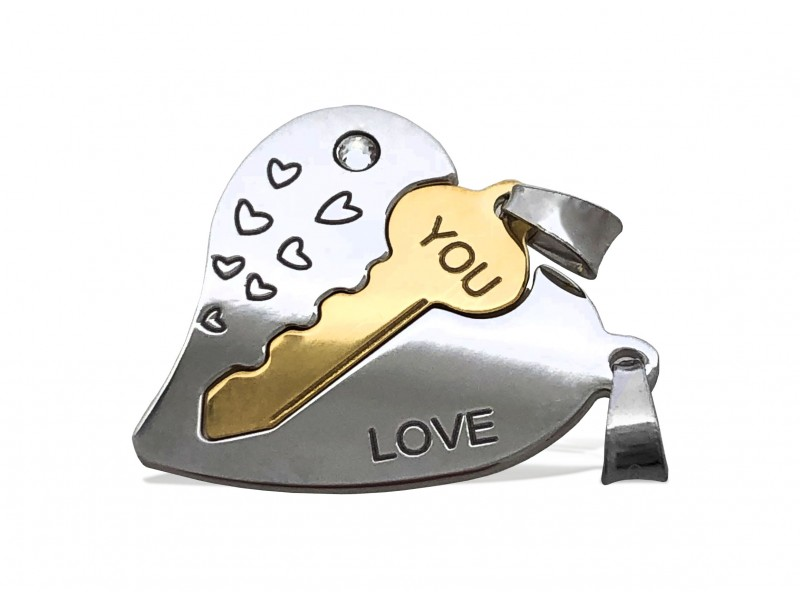 """S925 2 PART HEART + KEY PENDANT """"LOVE YOU"""" W/GOLD + ROHDIUM PLATE + STONE 20 X 0.8MM SALE!!!!"""