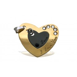 """S925 2 PART HEART NECKLACE """"I LOVE YOU"""" W/GOLD AND RUTHENIUM PLATING + STONES 22 X 1.3 MM"""