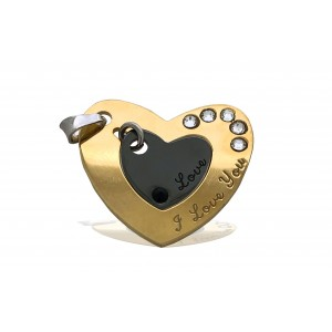 "S925 2 PART HEART NECKLACE ""I LOVE YOU"" W/GOLD AND RUTHENIUM PLATING + STONES 22 X 1.3 MM"