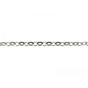Sterling Silver 925 Flat Wire Oval Link Trace Chain, 3.75mm x 4.7mm