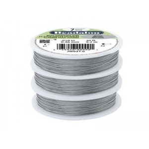 7 Strand Stainless Steel Bead Stringing Wire, .010 in (0.25 mm), Bright, 100 ft (31 m)