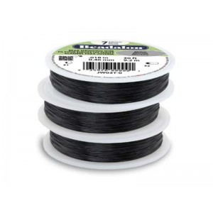 7 Strand Stainless Steel Bead Stringing Wire, .012 in (0.30 mm), Black, 30 ft (9.2 m)