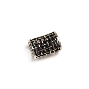 Sterling Silver 925 Lattice Tube Bead 7.27mm x 11.29mm I/D  Silver Ethnic Beads