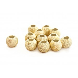 PACK OF, GOLD PLATED LAZER CUT BEAD 6mm, 2.4mm HOLE