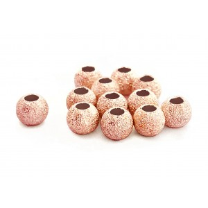 PACK OF, RED GOLD PLATED LAZER CUT BEAD 6mm, 2.4mm HOLE