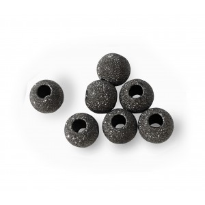PACK OF, BLACK RHODIUM PLATED, LAZER CUT BEAD 5mm, 2.2mm HOLE