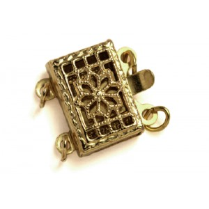 Gold Filled 5% 14K Gold Rectangular Filigree Box Clasp 2 strands