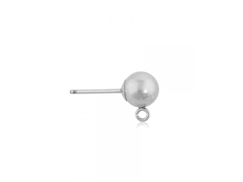 Sterling Silver 925 Ball Stud with Ring 4mm