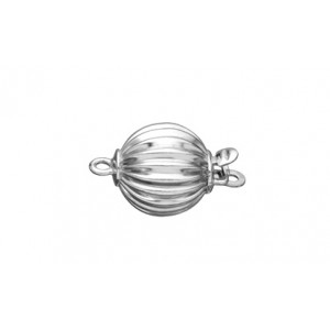 Sterling Silver 925 Corrugated Ball Pearl Clasp 7mm