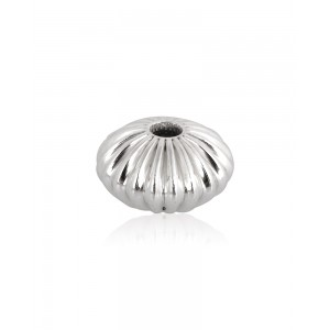 Sterling Silver 925 Straight Corrugated Rondelle Bead 7.2mm x 4mm