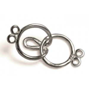 Sterling Silver 925 Interlocking Clasp 2 Row