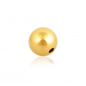18K YELLOW PLAIN ROUND 2-HOLE BEAD, 10mm