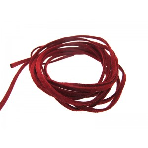 Pre-cut Suede Leather Thong, dark pink color 3mm x 90cm