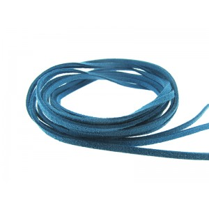 Pre-cut Suede Leather Thong, blue color 3mm x 90cm