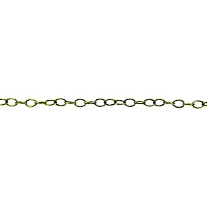Brass Round Wire Oval Chain 3mm x 4.5mm, wire 0.45mm + E Coat