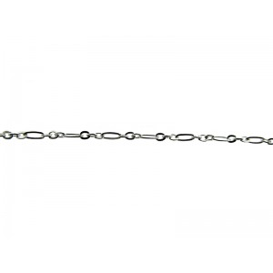 Sterling Silver 925 Flat Oval Figaro Chain, 2.1 mm Figaro