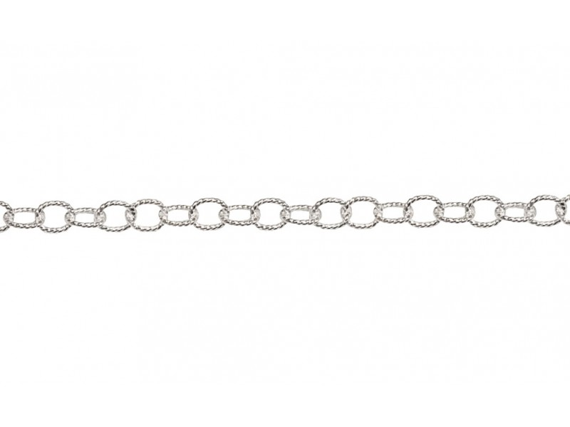 S925 PATTERNED OVAL TRACE CHAIN, 4.4x2.8mm