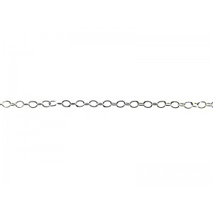 Sterling Silver 925 super light Cable Chain 1.3mm x 1.8mm