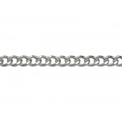 Sterling Silver 925 HOLLOW Chunky Flat Curb Chain - 7.1mm width x 1.8mm thickness