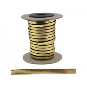 Flat Leather Cord 5mm x 2mm Gold