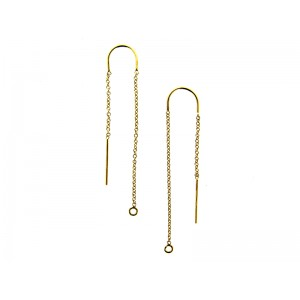 Gold Filled Threading Earring Cable Chain with centre U