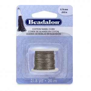 Cotton tassel cord, metallic silver on brown. beadalon