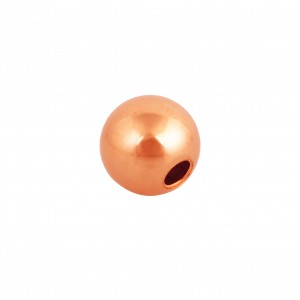 18K RED/ROSE GOLD 2.5mm ROUND 2 HOLE BEAD
