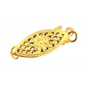 9K Yellow Gold Filigree Marquise Shaped Pearl Clasp