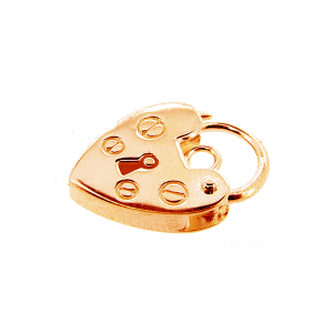 9K Rose Gold Heart Padlock 10mm