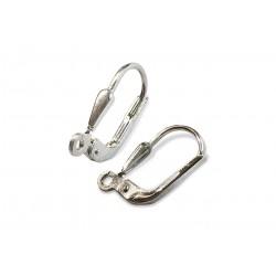 SILVER 925 STURDY LEVER BACK EAR HOOK w/ DROP MOTIF & 1.2mm HOLE OPEN RING