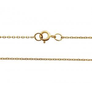 9K Yellow Gold Ready Made Fine Angle Filed Trace Chain 0.76mm 16'' w/ 3.5mm Bolt Ring