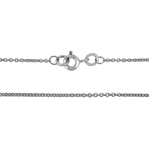 """9K WHITE READY MADE FINE TRACE CHAIN, 1.2mm WIDE, 18"""" w/ 5mm BOLT RING"""