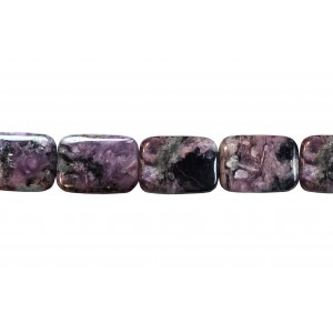 Charoite Smooth Flat Rectangle Beads 13mm x 18mm, 16'' strand