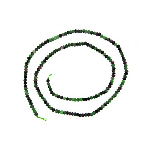 Zoisite Ruby ( Anyolite ) Faceted Rondelle Beads 3 - 3.3mm, 15.5'' strand