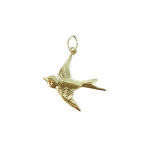 Gold Filled Swallow Bird Charm, 17 x 18mm