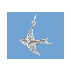 Sterling Silver 925 Swallow Charm 18mm x 19mm