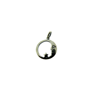 Sterling Silver 925 Moon and Star Pendant 17mm