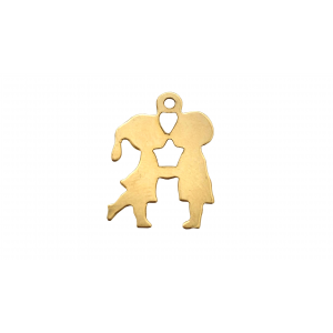 Gold Filled Couple Charm, 12 x 17mm Gold Filled Hearts & Feelings