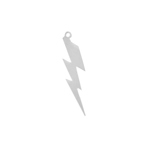 Sterling Silver 925 Lightning Bolt Charm 7mm x 28mm, thick 0.35mm