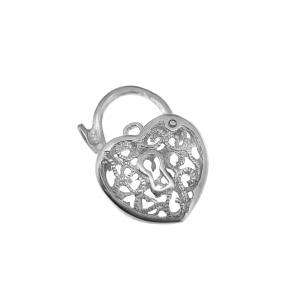 Sterling Silver 925 Filigree Heart Clasp 17mm