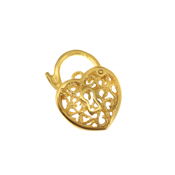 Sterling Silver 925 Yellow Gold Plated Filigree Heart Clasp 17mm
